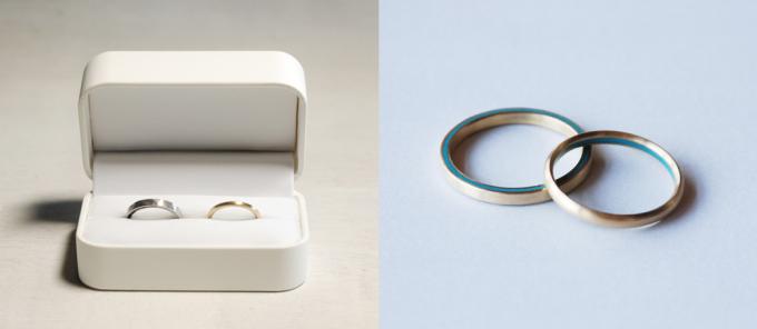 Kenichi Kondoの七宝焼きのラインが入った結婚指輪