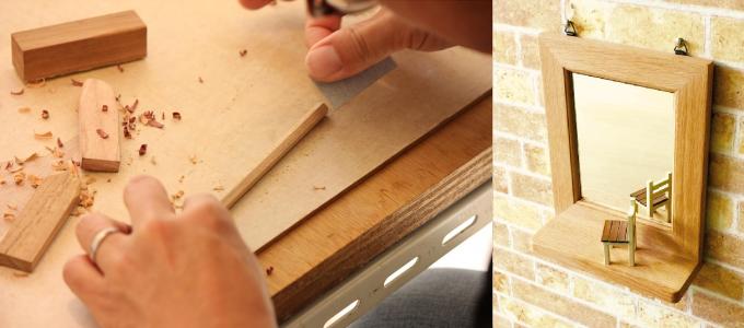 無垢材で鉛筆を作っている様子と無垢材を使用した壁掛けミラー