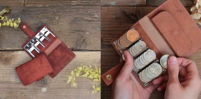 LITSTA(リティスタ)の小銭が整列するレザー素材のコインウォレット