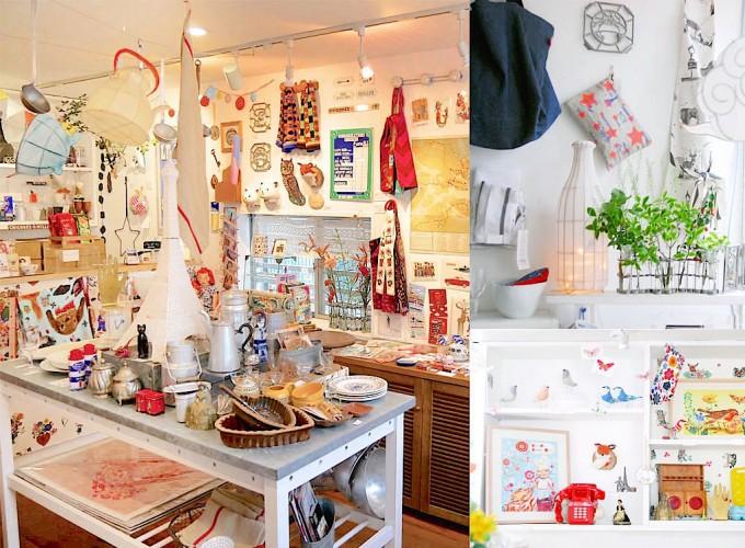 たくさんの海外の雑貨やブロカントが並ぶgalerie doux dimancheの店内の写真