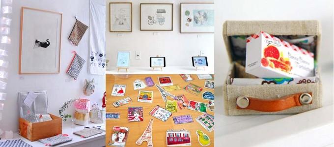 ギャラリー・ドゥー・ディマンシュのギャラリースペースでのオロール・ドゥ・ラ・モリヌリや酒井マオリ、una carta、ハセガワエミの展示写真