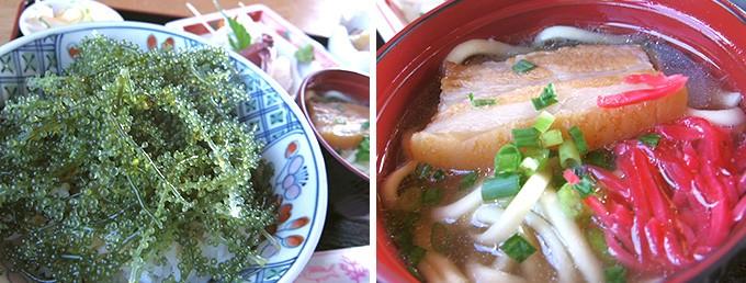 海ブドウ丼と沖縄そば