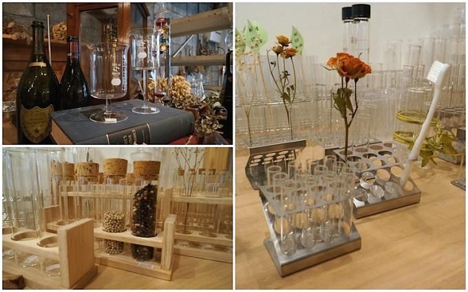 歯ブラシや花を入れた試験管やガラス瓶がディスプレイされた清澄白河「リカシツ」の店内のコラージュ写真
