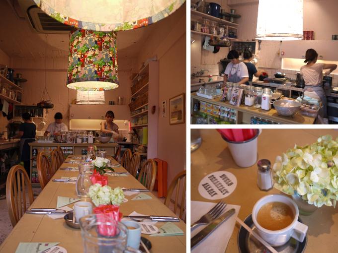 WORLD BREAKFAST ALLDAYの中の様子。長いテーブルと厨房、コーヒーの写真