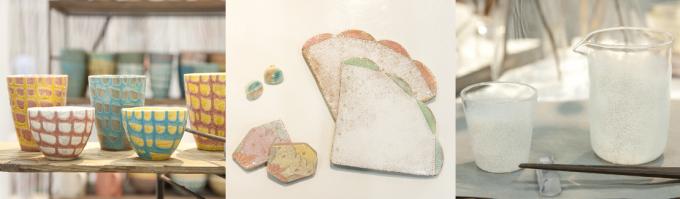 Handmade MAKERS'(ハンドメイドメーカーズ)に参加した3人の陶芸作家さんの出展の様子