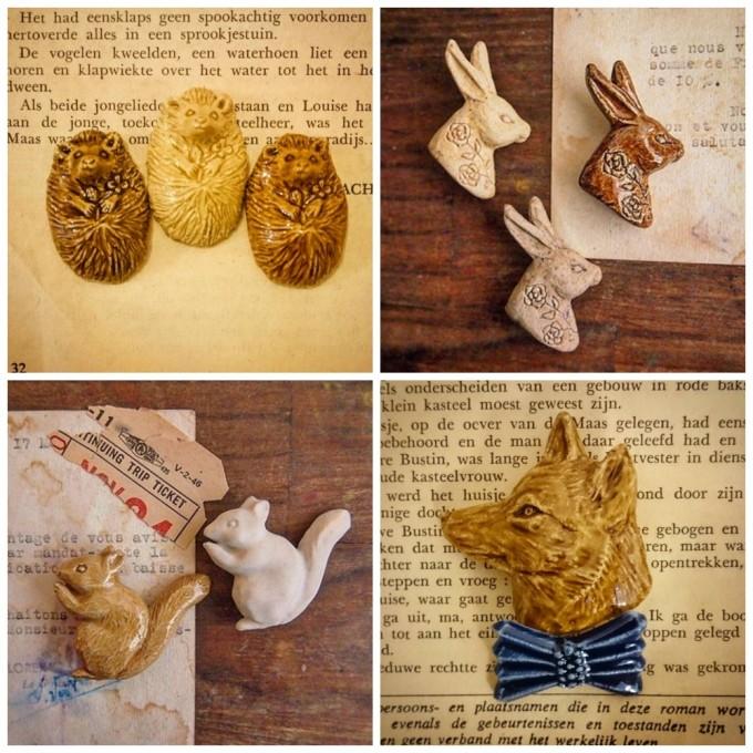 ハリネズミ。うさぎ、リス、キツネの陶器ブローチ