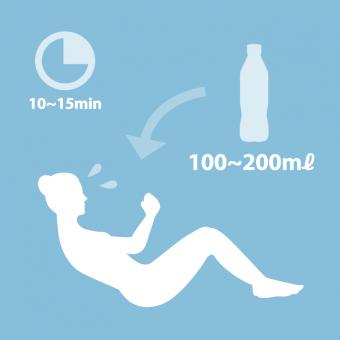 運動している時は水を100~200mlを摂取