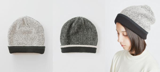 TRICOTÉ(トリコテ)のリバーシブルニット帽と着用画像