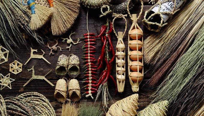 工房ストローの藁製品数種類