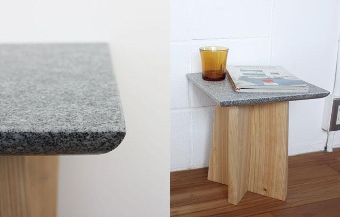 AJI PROJECT(アジプロジェクト)の石材と木材を組み合わせたスツール