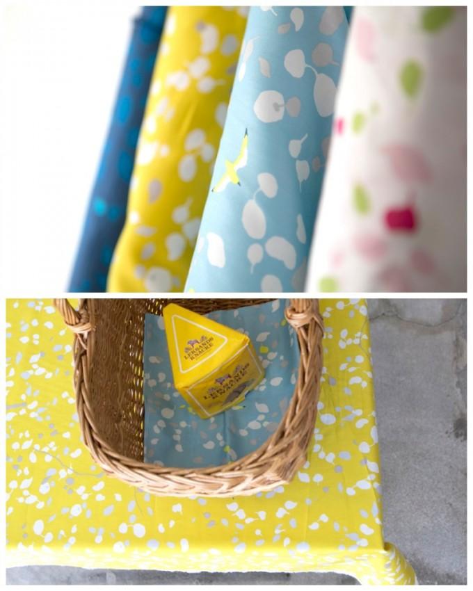 黄色やブルーの布とカゴ
