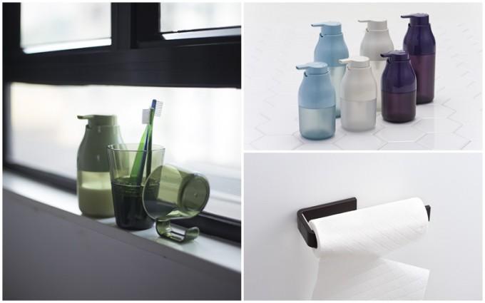 「PLYS」の水色、白、紫のディスペンサーやキッチンペーパーホルダー、洗面所用の緑色のタンブラー