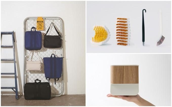 紺と白と黒のバッグや黄色いブラシなどの生活雑貨