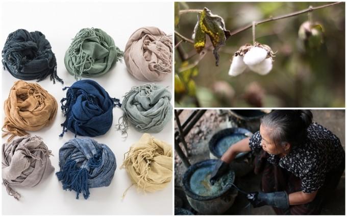 「HITOHI」の青やグリーンのショールやハンカチと綿花と染め物をしている女性