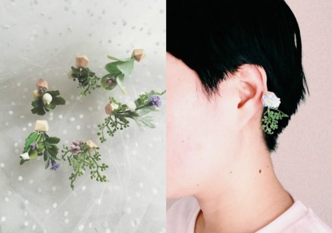 「good morning,morning.(グッドモーニング モーニング)」の木片に草花の造花を組み合わせたピアス