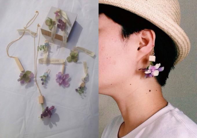 「good morning,morning.(グッドモーニング モーニング)」の木片と薄紫のフラワーモチーフ片耳ピアス