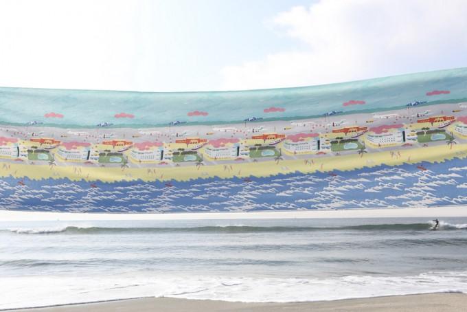 海と海の柄の布