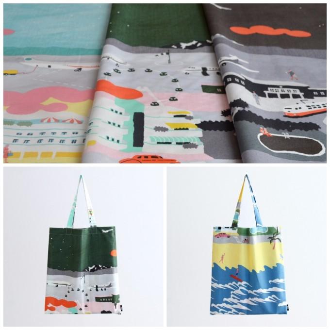 飛行場や観覧車などの絵の布とバッグ