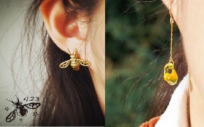 倉持順子さんが手掛けるブランド・423(しじみ)のミツバチシリーズ「abeille(アベイユ)」のピアス着用画像