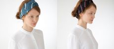 KUSKA(クスカ)の手織りテキスタイルで作ったバンダナをつけた女性2パターン