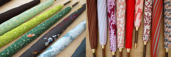 イイダ傘店のクリスマスカラーの傘数種類