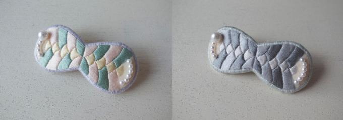plomme(プロンメ)の魚の鱗モチーフの刺繍バレッタ2種類