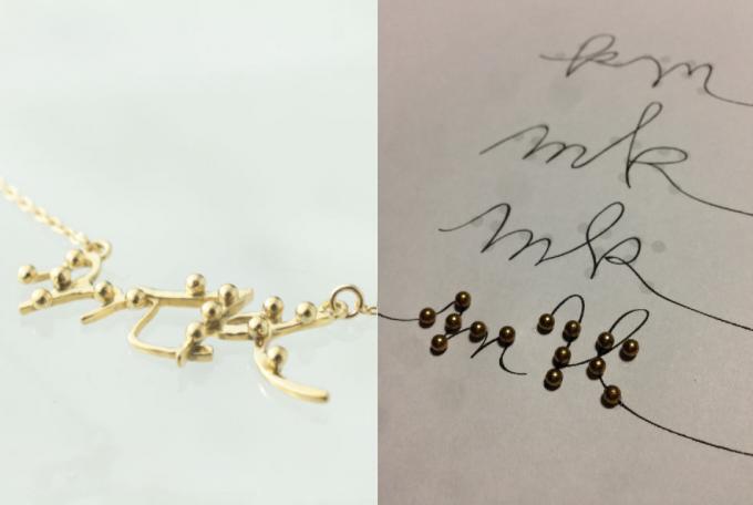Antamina(アンタミナ)の点字アクセサリーと筆記体をもとにしたデザイン