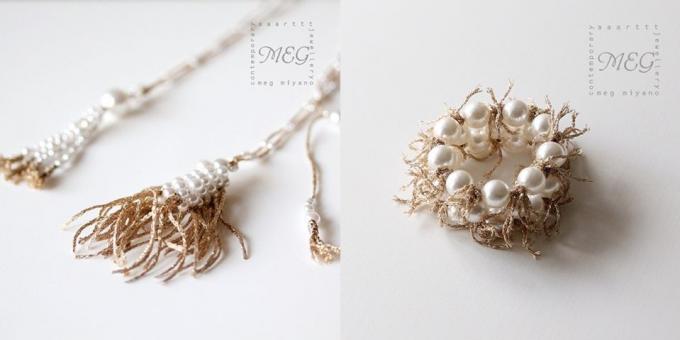 MEG MIYANO(メグ ミヤノ)のゴールド糸と樹脂パールを組み合わせたネックレスやブレスレット