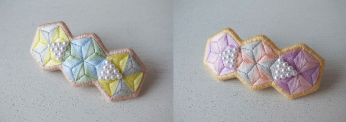 plomme(プロンメ)の結晶モチーフの刺繍バレッタ2種類