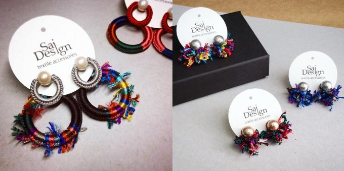 Sai Design(サイデザイン)のオリジナルの糸を編んだピアス数種類