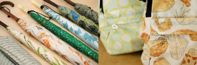「イイダ傘店」の傘とリュック数種類