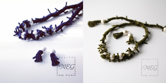 MEG MIYANO(メグ ミヤノ)のビロード糸とコットンパールを組み合わせたネックレスとピアス数種類