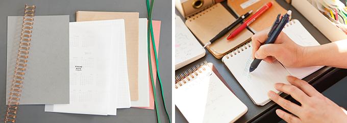 「HININE NOTE(ハイナインノート)」でノートにする紙を選定しているところ
