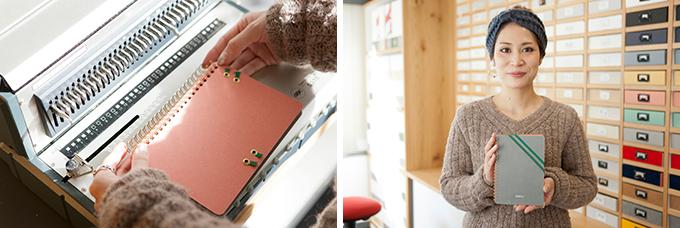 「HININE NOTE(ハイナインノート)」で作ったノートを綴じている様子と、女性が完成品を持っている様子