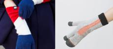 トリコロールカラーとオレンジワンポイントの手袋