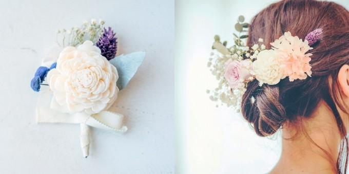 「muku.」のピンブローチ、お花の髪飾り
