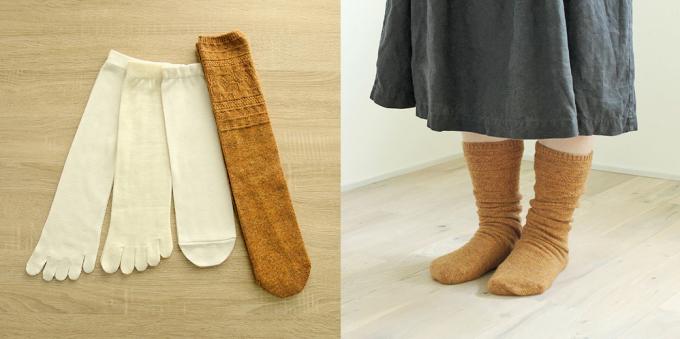 くらしきぬの冷えとり靴下4足セットと着用画像