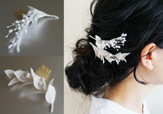 0810(ゼロハチイチゼロ)の花モチーフのミニコーム2種類と着用画像