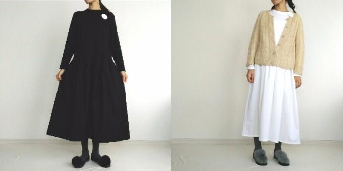 「&moon」ブラックとホワイトのワンピースを着用する女の子
