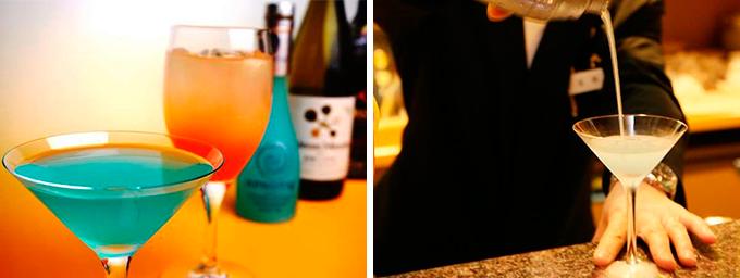 ブルーやオレンジ、白いカクテル
