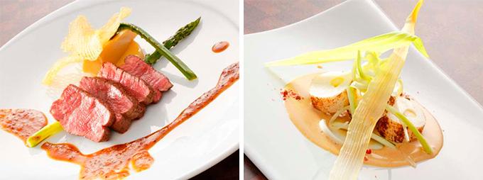 肉や魚が選べるプリフィックススタイルのフレンチフルコース