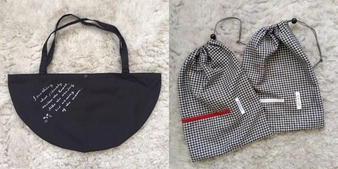 「&moon」の半月形のバッグとギンガム巾着