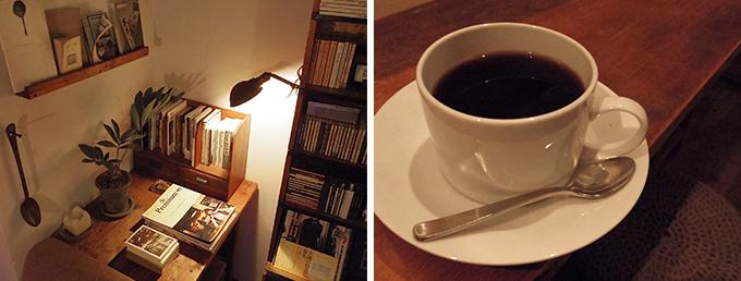 雑誌が置かれたデスクとコーヒー