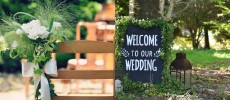 「OH!HAPPY WEDDING」のウエルカムボードや教会
