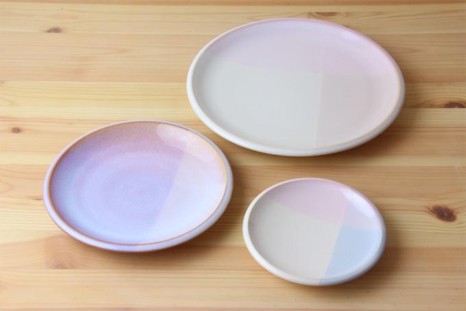 桜色の萩焼のお皿3種類
