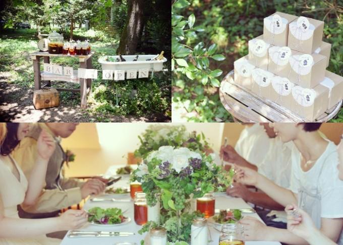 「OH!HAPPY WEDDING」のプロデュースのバースペースやギフト、食事の様子