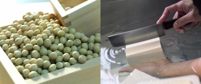 「兎豆屋(とまめや)」の国産大豆と、豆腐を切る様子