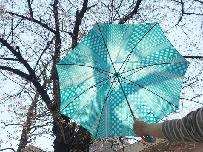 東京ノーブルでセミオーダーしたブルグリーンの傘と桜