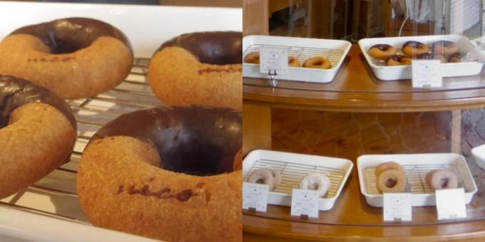 チョコがかかったドーナツとホーローに入ったドーナツ