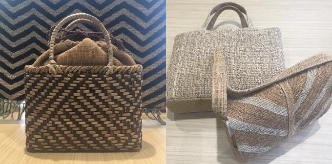 原始布・古代織を用いて作られたストールとバッグ数種類